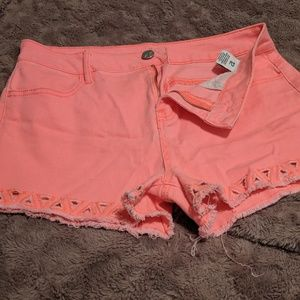GARAGE Highlighter Hot Pink Jean Shorts Sz 12